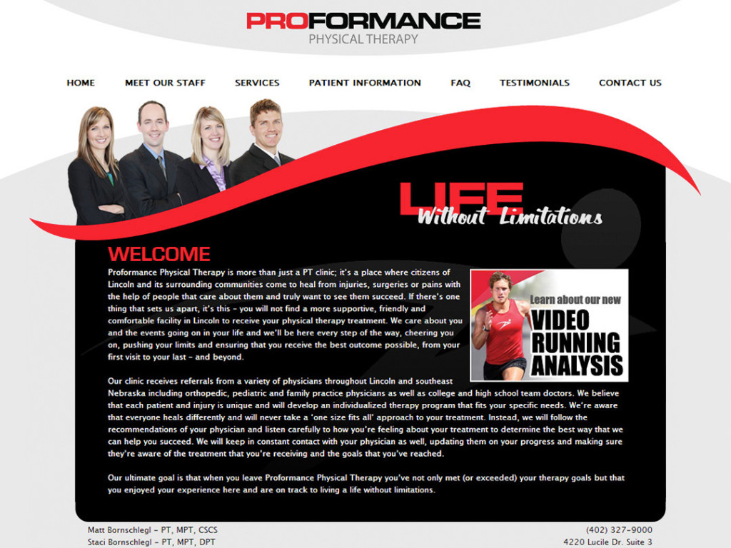 Proformance Physical Therapy Website